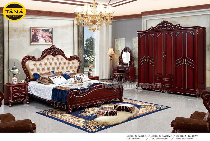 Bộ giường tủ bọc da đầu giường tân cổ điển nhập khẩu đài loan