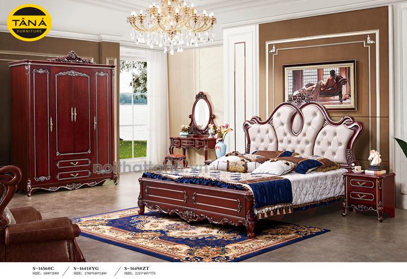 COmbo bộ giường tủ tân cổ điển bọc da đầu giường giá rẻ