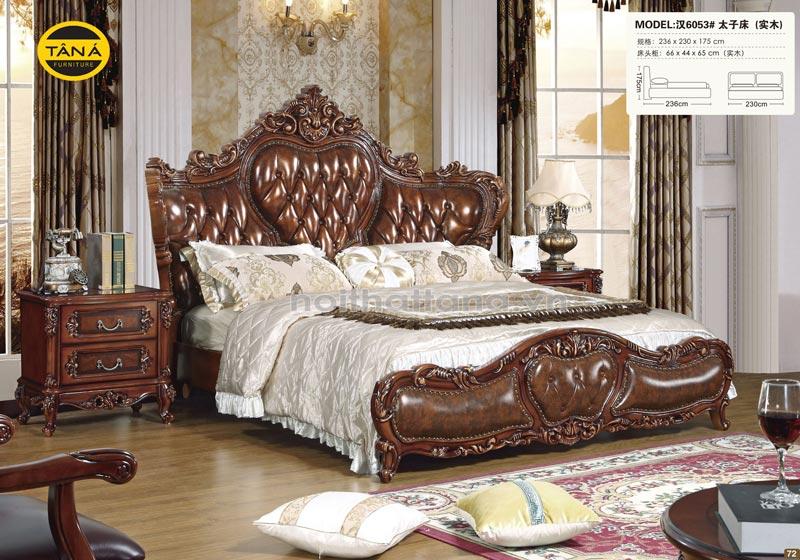 Giường ngủ bọc da bò tân cổ điển phong cách châu âu